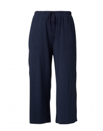 Nevis Navy Cotton Modal Cropped Wide Leg Pant