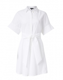 White Cotton Poplin Shirt Dress