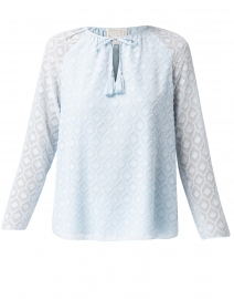 Light Blue Geo Jacquard Print Top