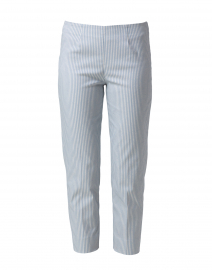 Audrey Pale Blue Striped Stretch Cotton Pant