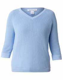 Cornflower Blue Cotton Shaker Sweater