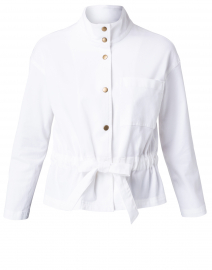 White Waist Tie Detail Cotton Jacket
