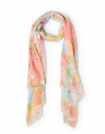 Multicolored Bouquet Print Silk Cashmere Scarf