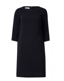 Navy Wool Crepe Dress