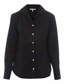Donna Black Button Down Stretch Cotton Shirt