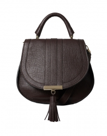 Mini Venice Tobacco Brown Textured Leather Cross-Body Bag