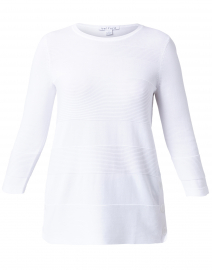 White Cotton Boatneck Sweater with Side Slits and Buttons