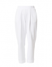Bric White Cotton Jersey Pleated Pull-On Pant