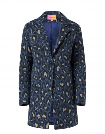 Alberta Blue Leopard Print Wool Cotton Jacket
