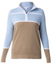Cornflower Blue and Fawn Beige Cotton Zip-Up