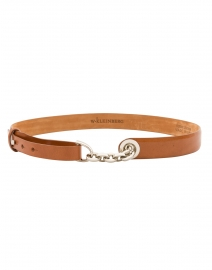 Glazed Cognac Leather Chain Toggle Belt