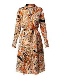 Madi Orange Paisley Printed Silk Shirt Dress