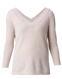 Beige V-Neck Cashmere Sweater