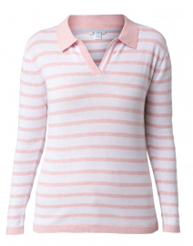 Pink and White Striped Pima Cotton Polo Sweater