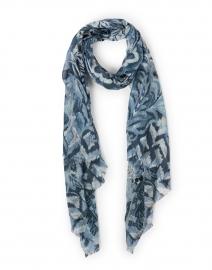 Navy Blue Paisley Silk Cashmere Scarf