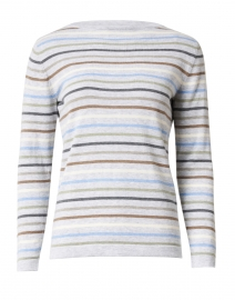 Light Grey Multi Striped Pima Cotton Sweater