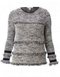 Grey Boucle Fringe Trim Cotton Sweater
