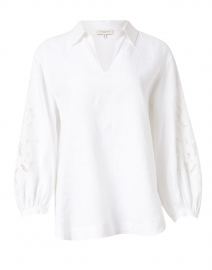 Parker White Linen Embroidered Blouse