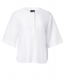 White Jacquard Henley Top