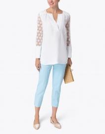 120% Lino - White Floral Jacquard Linen Top