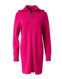 Magenta Wool Zip Up Cardigan Jacket