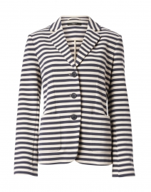 Panay Navy and White Striped Stretch Cotton Blazer