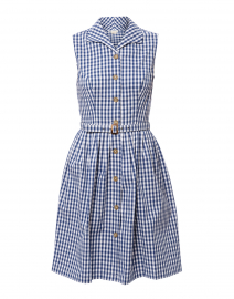 Candide Navy and White Gingham Shirt Dress