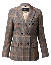 Brown and Beige Plaid Stretch Wool Blazer