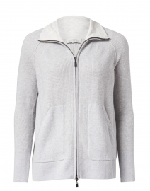Light Grey Cotton Cashmere Zip Cardigan