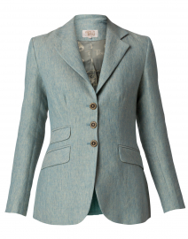 Robin Egg Blue Linen Hacking Jacket