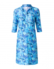 Blue Palm Printed Jersey Shirt Dress