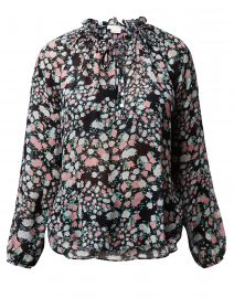 Basilia Black and Pink Floral Printed Blouse