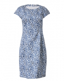 Blue and White Painted Print Stretch Cotton Dress