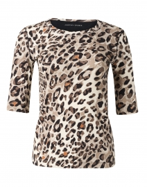 White and Grey Animal Print Stretch Cotton Top