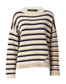 Auronzo Beige and Navy Striped Cotton Sweater