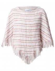 Whitney Pink and Beige Tweed Fringed Poncho