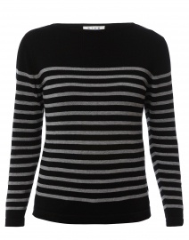 Black and Grey Striped Cotton Sweater