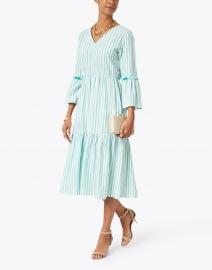 Vilagallo - Tyne Green and White Striped Lurex Cotton Dress