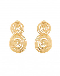 Gold Wave Swirl Small Circle Earrings