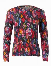 Multicolored Black Floral Silk Cashmere Sweater