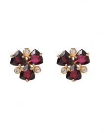 Red Garnet and Zirconia Gemstone Stud Earrings