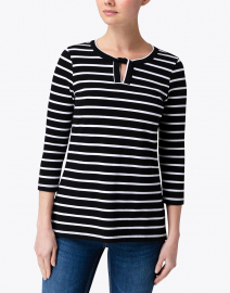E.L.I. - Black and White Striped Cotton Top