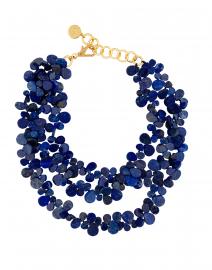 Lapis Petal Cluster Triple Strand Necklace