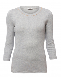 Light Grey Cotton Top with Brilliant Trim