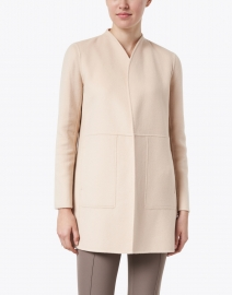 Lafayette 148 New York - Marlow Beige and Pale Pink Reversible Wool Cashmere Long Jacket