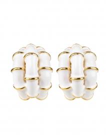 White Ribbed Enamel Hoop Clip Earring