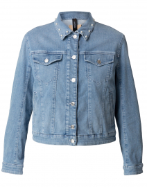 Blue Denim Jean Jacket with Pearl Collar