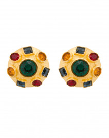 Multicolored Gemstone Gold Circle Stud Clip Earrings