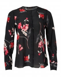 Shana Black Magnolia Floral Printed Silk Blouse