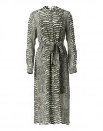 Khaki Green and White Crocodile Printed Dress